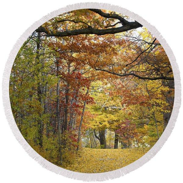 Autumn Nature Trail Round Beach Towel