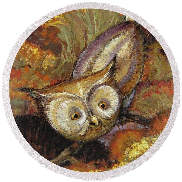 Autumn Owl Round Beach Towel