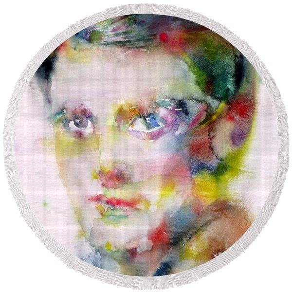 Ayn Rand - Watercolor Portrait Round Beach Towel