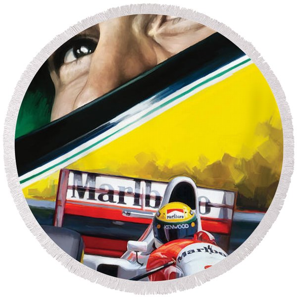 Ayrton Senna Artwork Round Beach Towel