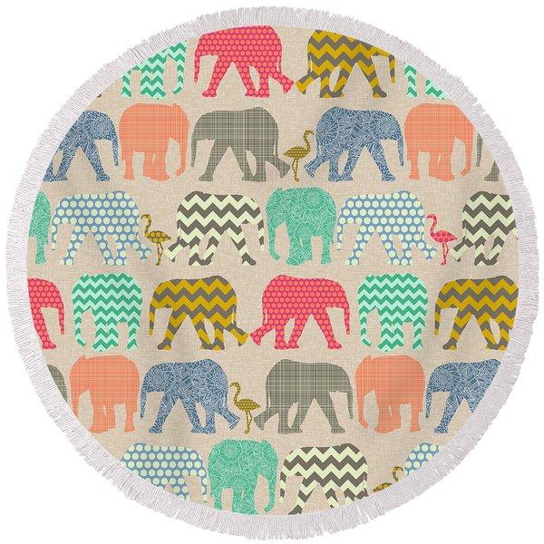 Baby Elephants And Flamingos Linen Round Beach Towel