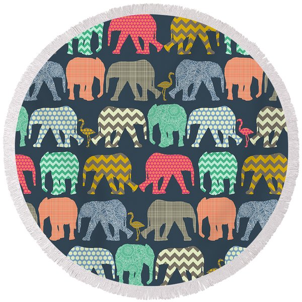 Baby Elephants And Flamingos Round Beach Towel