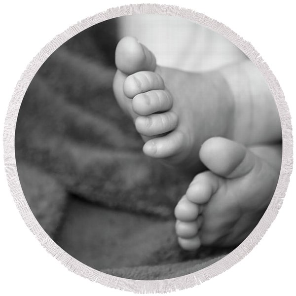 Round Beach Towel featuring the photograph Baby Feet by Carolyn Marshall