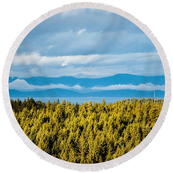 Backroad Ocean View Round Beach Towel