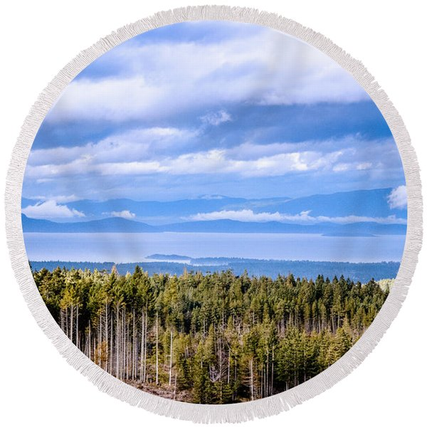 Johnstone Strait High Elevation View Round Beach Towel