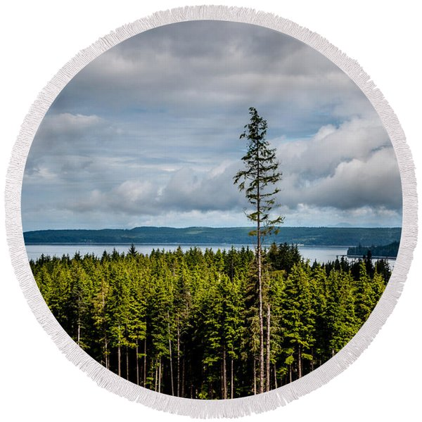Logging Road Ocean View  Round Beach Towel