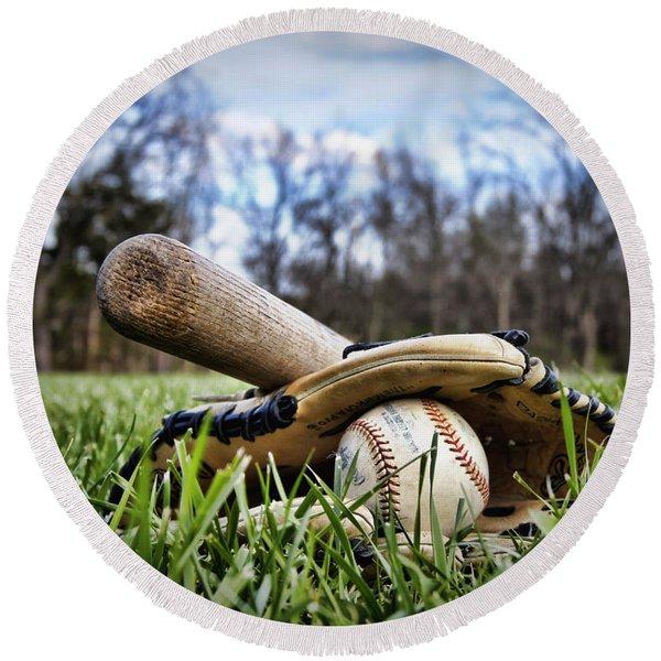 Backyard Baseball Memories Round Beach Towel