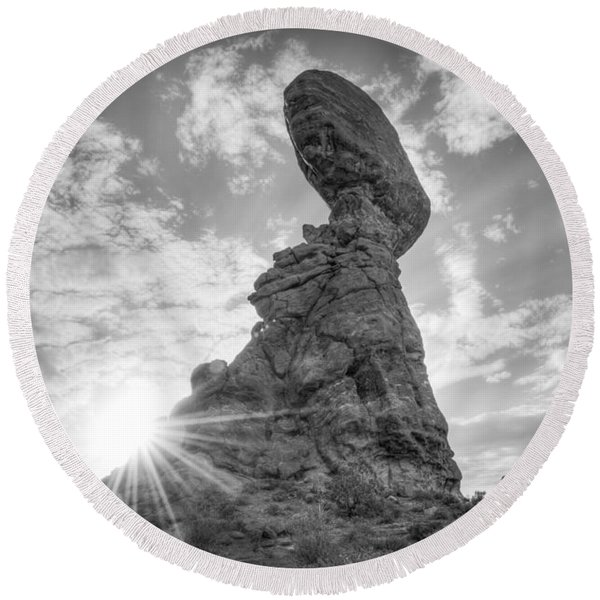Balanced Rock Bw Round Beach Towel