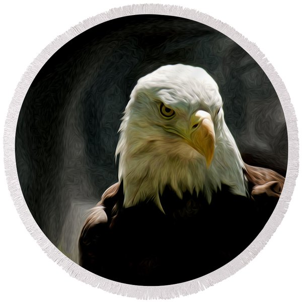 Bald Eagle Giving You That Eye Round Beach Towel