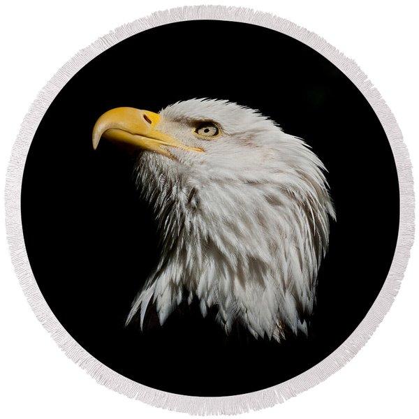 Bald Eagle Looking Skyward Round Beach Towel
