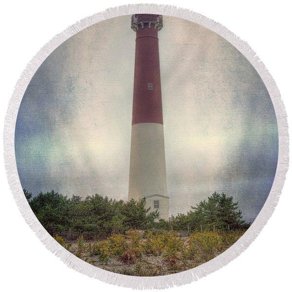 Barnegat Lighthouse Dawn Round Beach Towel