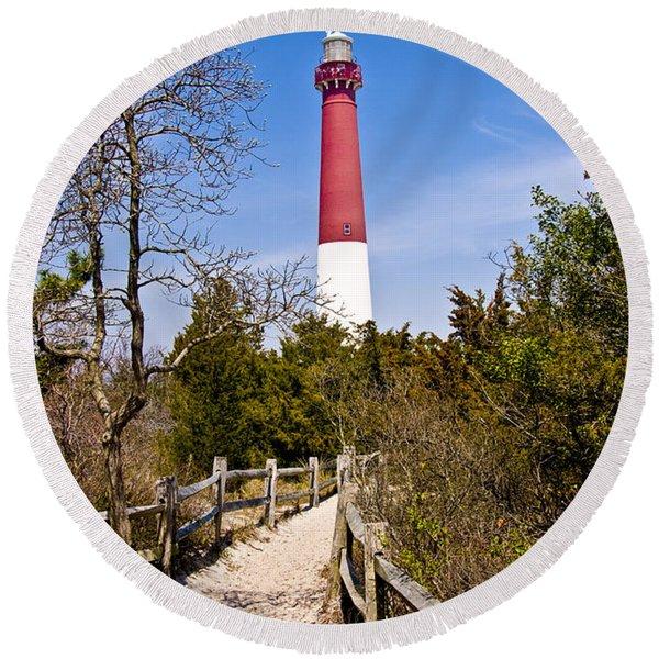 Barnegat Lighthouse II Round Beach Towel