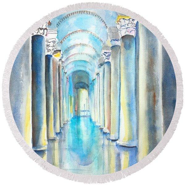 Basilica Cistern Istanbul Turkey Round Beach Towel