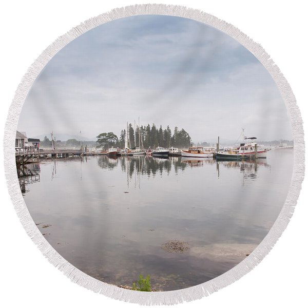 Bass Harbor In The Morning Fog Round Beach Towel