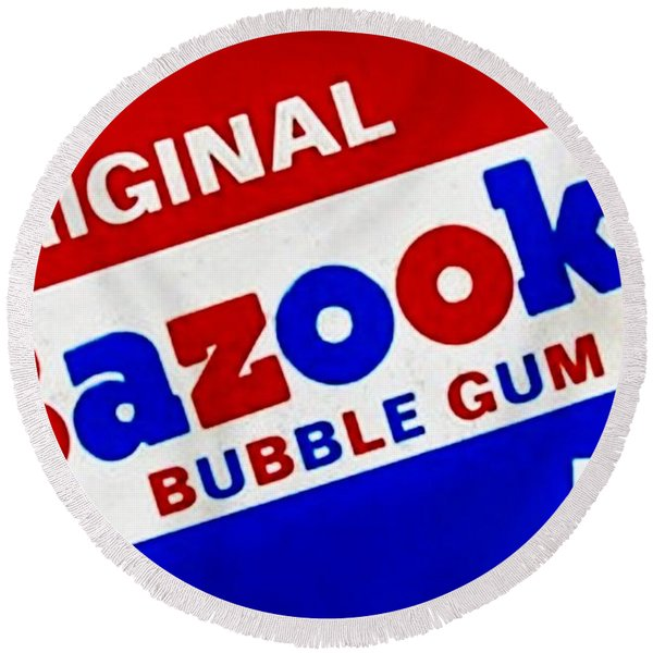 Bazooka Bubble Gum  Round Beach Towel