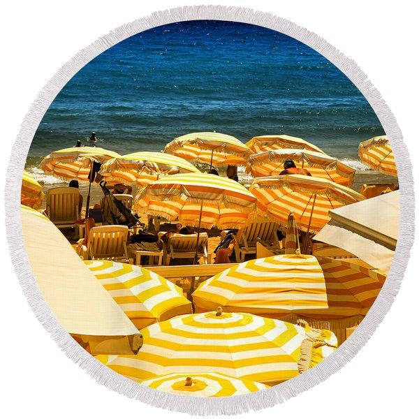 Beach In Cannes  Round Beach Towel