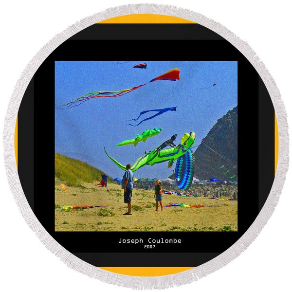 Beach Kids 4 Kites Round Beach Towel
