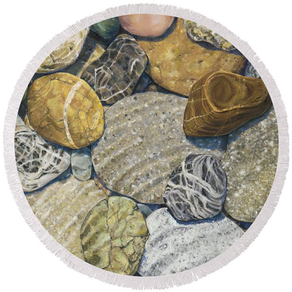 Beach Rocks Of The Puget Sound  Round Beach Towel