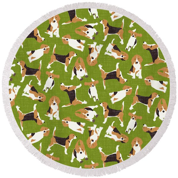 Beagle Scatter Green Round Beach Towel