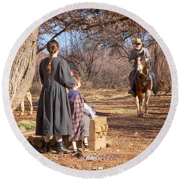 Round Beach Towel featuring the photograph Before The Battle For Socorro by Mary Lee Dereske