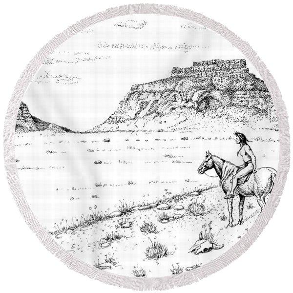 Open Prairie Overlook Round Beach Towel