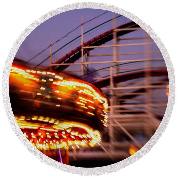 Did I Dream It Belmont Park Rollercoaster Round Beach Towel
