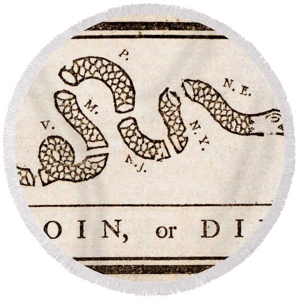 Benjamin Franklin's Join Or Die Cartoon Round Beach Towel