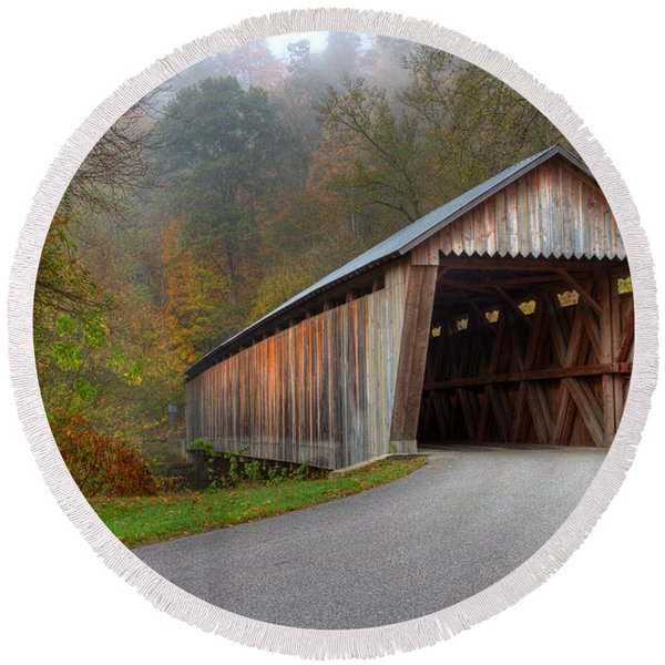 Bennett Mill Covered Bridge Round Beach Towel