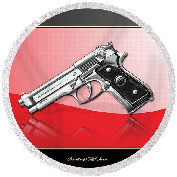 Beretta 92fs Inox Over Red And Black Round Beach Towel