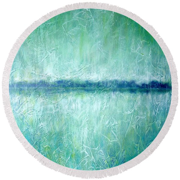 Between The Sea And Sky - Green Seascape Round Beach Towel