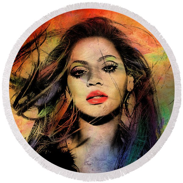 Beyonce Round Beach Towel