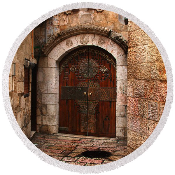 Door In Jerusalem Round Beach Towel