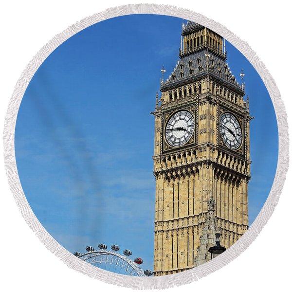 Big Ben And London Eye Round Beach Towel