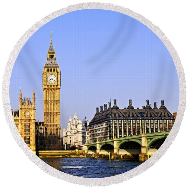 Big Ben And Westminster Bridge Round Beach Towel