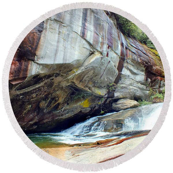 Birdrock Waterfall In Spring Round Beach Towel