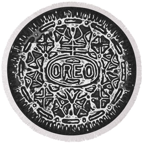 Black And White Oreo Round Beach Towel