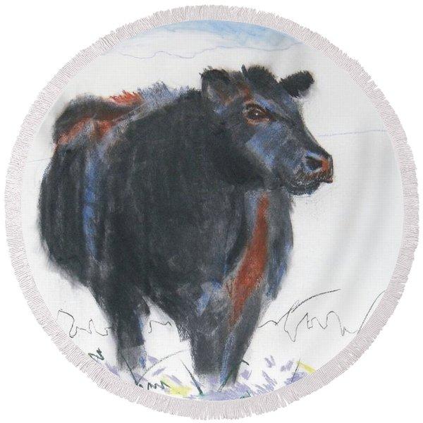 Black Cow Drawing Round Beach Towel
