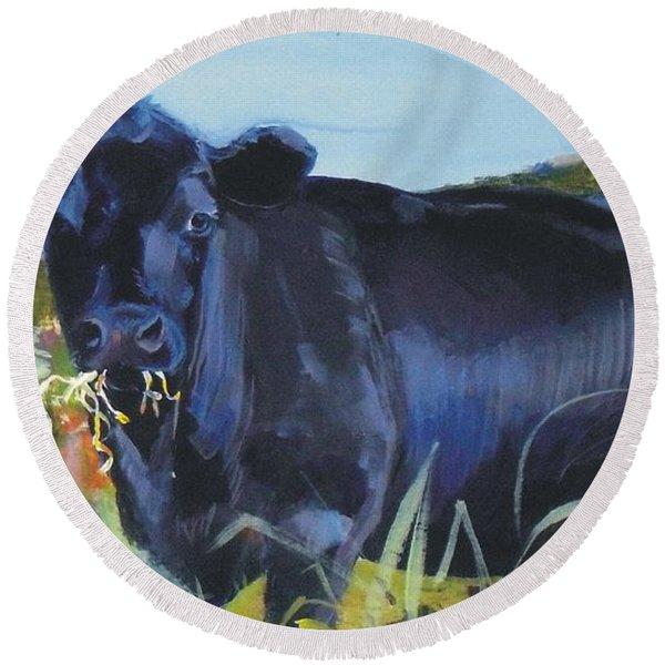 Cows Dartmoor Round Beach Towel