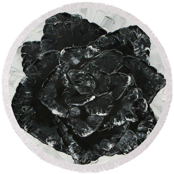 Black Rose I Round Beach Towel