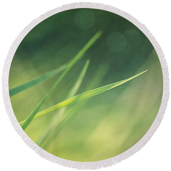 Blades Of Grass Bathing In The Sun Round Beach Towel