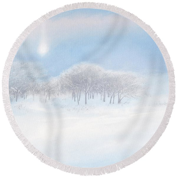Blizzard Coming Round Beach Towel