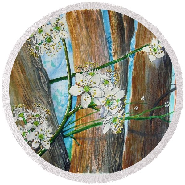 Blooms Of The Cleaveland Pear Round Beach Towel