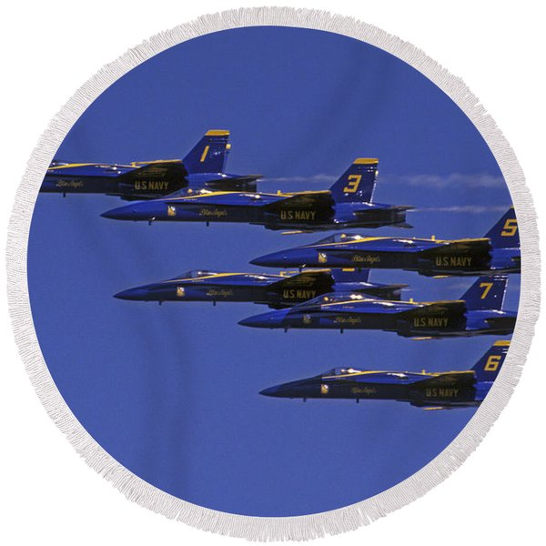 Blue Angles Thunder By Round Beach Towel