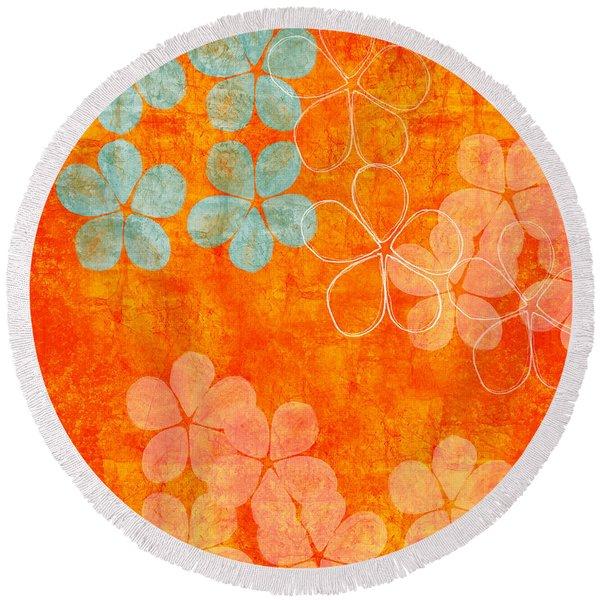 Blue Blossom On Orange Round Beach Towel
