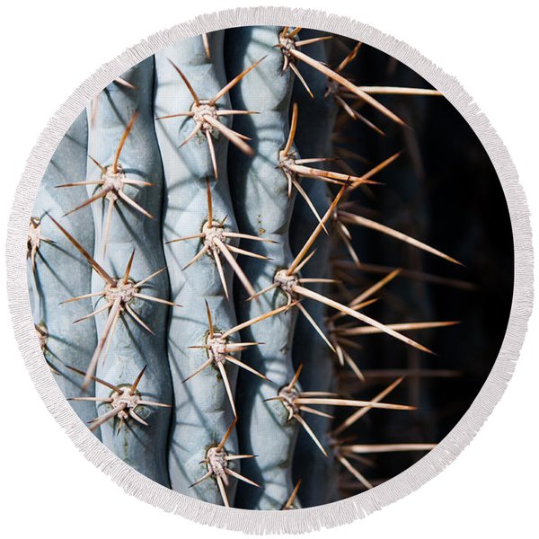 Blue Cactus Round Beach Towel
