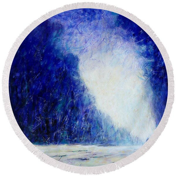 Blue Landscape - Abstract Round Beach Towel