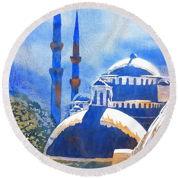Blue Mosque In Blues Round Beach Towel