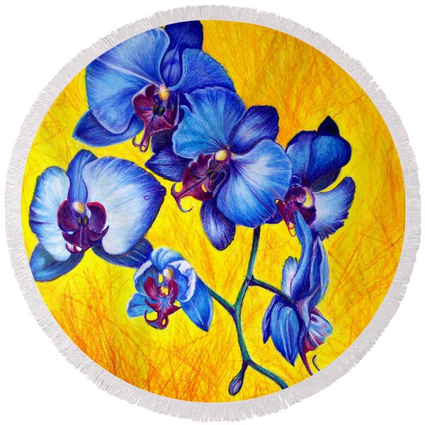 Round Beach Towel featuring the painting Blue Orchids 1 by Nancy Cupp