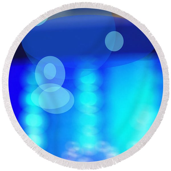 Blue Spheres Round Beach Towel