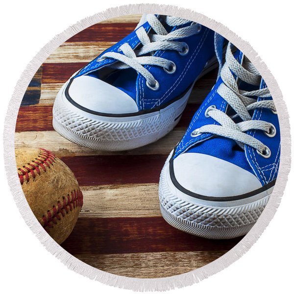 Blue Tennis Shoes And Baseball Round Beach Towel
